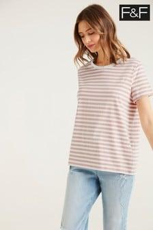 F&F Boyfriend Pink Stripe Top T-Shirt