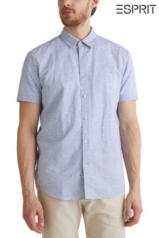 Esprit Blue Cotton Blend Short Sleeve Shirt