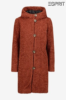 Esprit Brown Faux Shearling Coat With Hood