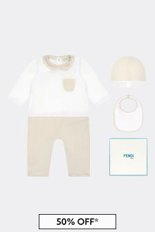 Fendi Kids Baby White/Blue Cotton Gift Set