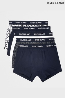 River Island Navy Monogram Trunks Five Pack