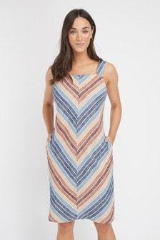 New Next Linen Blend Tropical Palm Print Summer Shift Dress Size 6-26