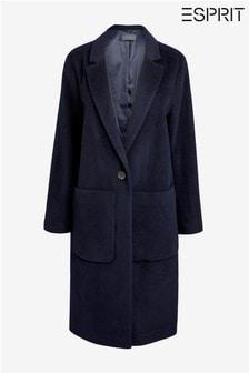 מעיל בלייזר כחול בגזרה ארוכה של Esprit