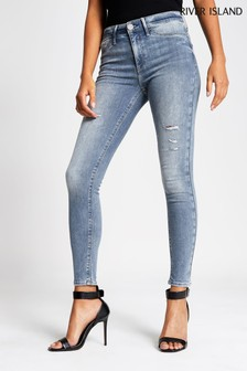 River Island Molly Jeans mit mittelhohem Bund, grau