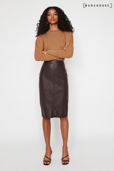 Warehouse Purple Faux Leather Pencil Skirt