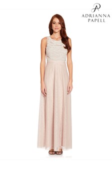 Adrianna Papell Pink Beaded Sleeveless Gown