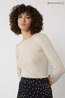Warehouse Cream Diamond Bobble Jumper