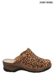 Josef Seibel Multicoloured Catalonia Leopard Print Slip-On Clogs