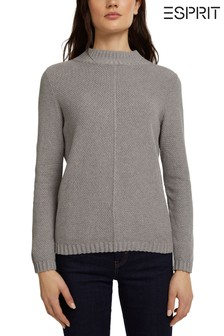 Esprit Womens Grey Long Sleeve High Neck Jumper
