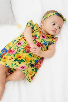 Floral Jersey Dress, Knickers And Headband Set (0mths-2yrs)