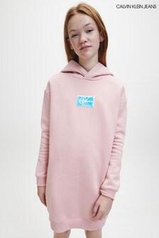 Calvin Klein Jeans Pink Monogram Badge Hoody Dress