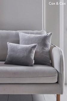 Cox & Cox Velvet And Linen Rectangular Cushion