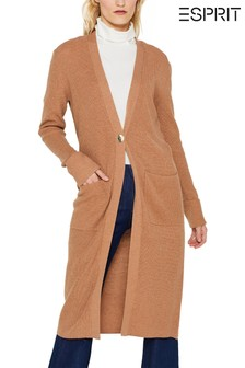 Esprit Brown Open Long Cardigan With Front Pockets
