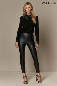 Wallis Schwarze Leggings in Lederoptik