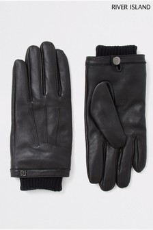 River Island Black Leather Gloves