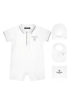 Balmain Baby Boys White Cotton Shortie Set