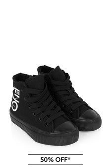 Kids Black Logo High Top Trainers