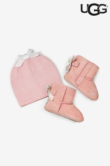 UGG® Pink Baby Shoes And Hat Gift Set