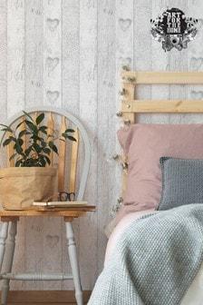 Art For The Home Grey Fresco Plank Love Heart Wallpaper
