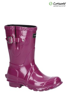 Cotswold Purple Windsor Gloss Short Wellington Boots