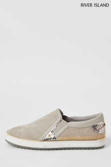 River Island Grey Binding Easy Plimsolls