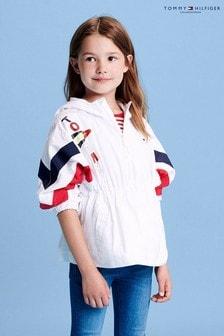 Tommy Hilfiger Girls Printed Flutter Sleeve Top
