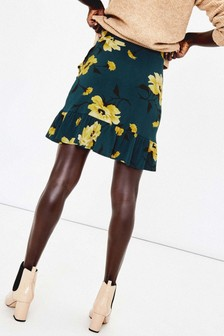 Oasis Green Large Rose Mini Skirt
