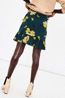 Oasis Green Large Rose Mini Skirt