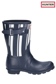 Hunter Blue Original Garden Stripe Short Wellington Boots