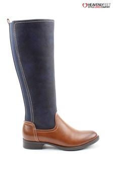 Heavenly Feet Vivian Tan/Navy Tall Boots