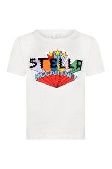 Girls Ivory Long Print T-Shirt
