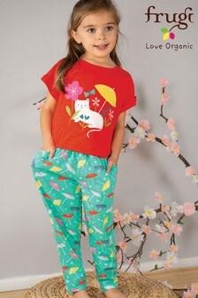 Frugi GOTS Organic Parasol Print Gathered Trousers