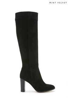 Mint Velvet Faith Black Suede Slouch Boots