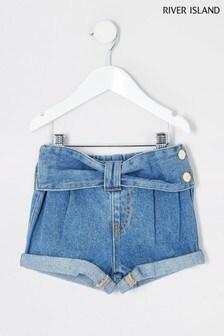 River Island Blue Bow Mom Shorts