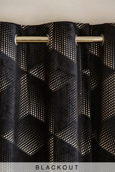 Black Velvet Metallic Foiled Eyelet Curtains
