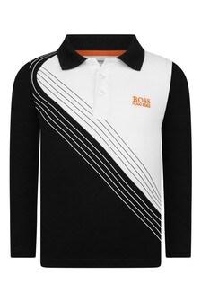 Boys Black & White Cotton Poloshirt