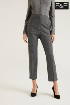 F&F Grey Check Slim Trousers