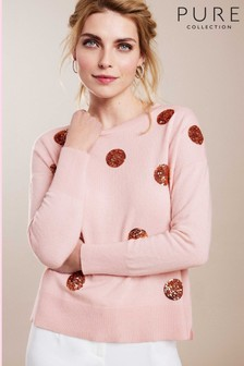 Pure Collection Pink Relaxed Split Hem Sweater