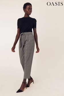 Oasis Natural Check Peg Trousers
