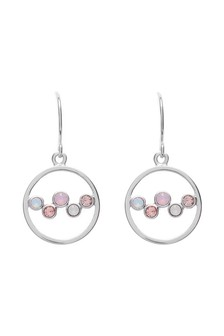 Circle Drop Earrings With Swarovski® Crystals