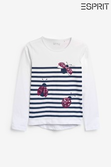 Esprit White Ladybird Stripe Long Sleeve T-Shirt