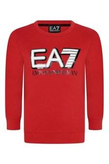 Boys Red Cotton Logo Sweater