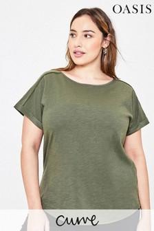 Oasis Curve Green Roll Cuff T-Shirt
