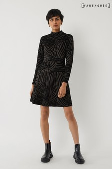 Warehouse Black Zebra Jacquard Skater Dress