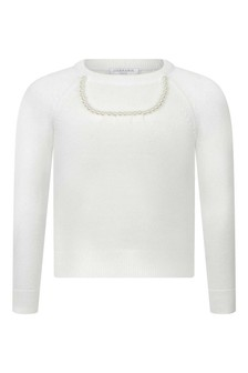 Girls Ivory Cotton Knitted Sweater