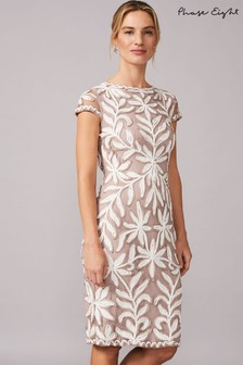 Phase Eight Neutral Isobel Tapework Dress