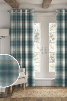 Serena Check Eyelet Lined Curtains