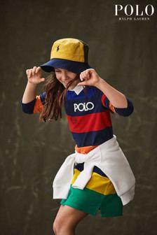 Ralph Lauren Navy Multicoloured Stripe Logo Rugby Dress