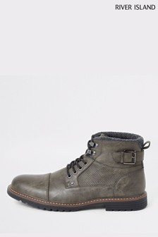 River Island Grey Buckle Brighton Move On Boots