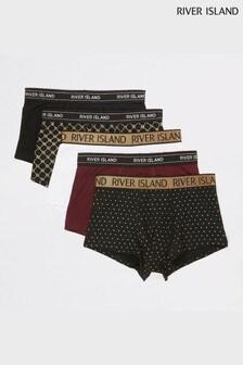 River Island Black Gold Foil Hipsters Five Pack